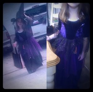Little purple witch sparkly velvet tulle dress